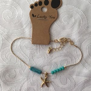 Gold Filled And Turquoise Starfish Ankle Bracelet